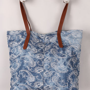 Embroidered Paisley Reversible Denim Tote Bag