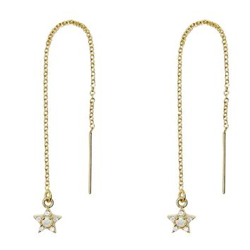 Tiny Pave CZ + Opal Star Threader Earrings