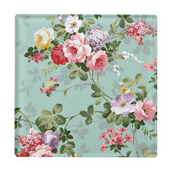 Vintage Rose Elegant Glass Coasters