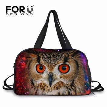 FORUDESIGNS Classic Galaxy Star Owl Travel Boarding Bag Weekend Bag for Men Personalized Animal Carry On Luggage Duffle Tote