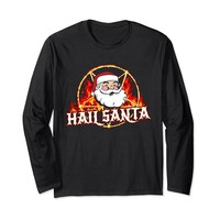Hail Santa Funny Metal Christmas Long Sleeve T-Shirt