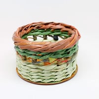 Small Handwoven Basket. Recycled Newspaper. Green, orange, brown round box. Home decor.