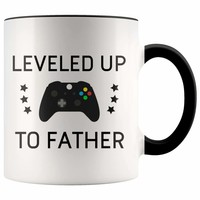 Available Now - Personalized First Time Father's Day New Dad Gift: Leveled Up To Father Coffee Mug