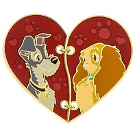 Disney Parks Couples Heart Shaped Stiched Lady and the Trump Pin New with Card