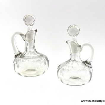 1900s Oil & Vinegar Etched Grape Cruet Set with Crystal Stoppers