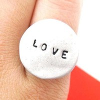 Simple Round Adjustable Love Stamped Hand Written Ring in Silver