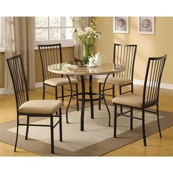 Round 5-Piece Dining Room Set with White Faux Marble Top Table and 4 Chairs (Free Shipping within contiguous U.S.)