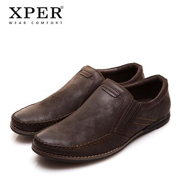 Men Loafers Flats Moccasins Men Shoes Slip-on Breathable Charm Casual Round Toe Brown