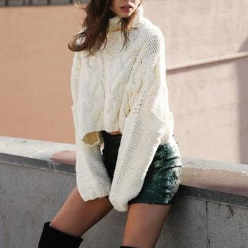 Mistletoe Crop Turtleneck Sweater