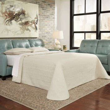 Okean collection sky colored leather match upholstered queen sleeper sofa with squared arms