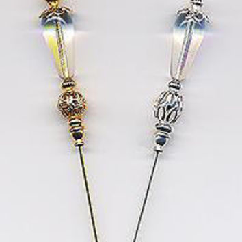 2 Gold Filigree 6 inch Hatpins (Hat Pins)