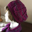 Crochet hat and headband, hat and cowl, purple hat, purple headband, crochet beanie