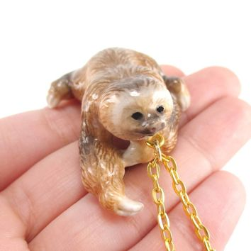 Two Toed Sloth Shaped Hand Painted Dangling Ceramic Animal Pendant Necklace | Handmade