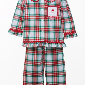 Banana Split Girl's Smocked Santa Pajama Set