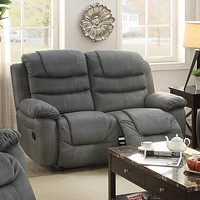 Breathable Leather, Solid Pine, Plywood Reclining Love Seat, Grey