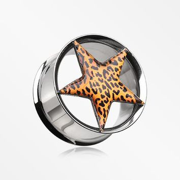 A Pair of Leopard Star Hollow Double Flared Steel Ear Gauge Plug
