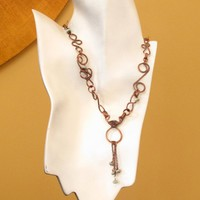 Handmade copper swirl link necklace textured and oxidized necklace