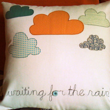 Waiting for the Rain... Appliqued Pillow Cover 16x16'' Off white cotton/Whimsical/For your home gift idea/ Made to order