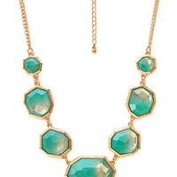FOREVER 21 Show Off Ombre Faux Stone Necklace Turquoise/Gold One