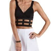 Black Stretchy Caged Wrap Crop Top by Charlotte Russe