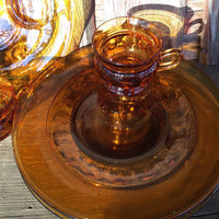 8 pc Retro glass snack trays and cups, Gold Crown Kings crown Colony glass, vintage amber glass round snack plates and cups,
