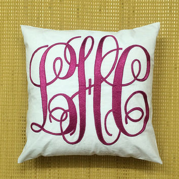 Monogram Pillow Decorative Throw Pillow Cover Personalized Custom Made Home Dorm Decor Cushion Cover Pillow Baby Gift Available in All Sizes