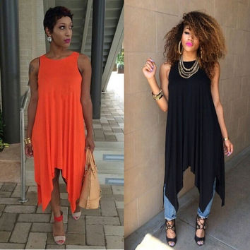 Casual Orange Cotton irregular hem tank Dress,Plus Size Side Split Vintage Novelty midi Dresses,Summer Black Women Clothes = 1930539652