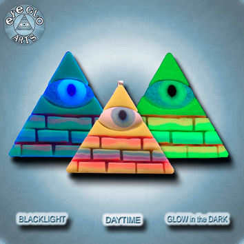 Creepy Cute Illuminati Pyramid Rainbow Glow in the Dark Pendant EyeGloArts Handmade Blacklight jewelry UV wearable Art