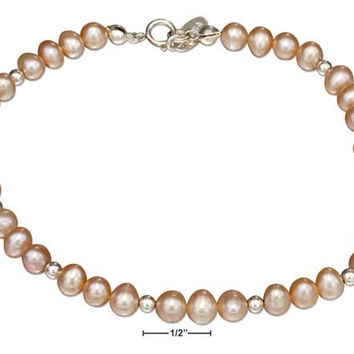 "STERLING SILVER 9"" PINK FRESH WATER CULTURED PEARL ANKLET"