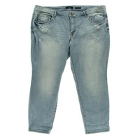 Jessica Simpson Womens Plus Forever Destroyed Low-Rise Cropped Jeans