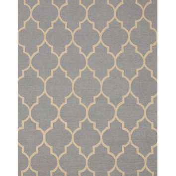 EORC Hand-tufted Wool Light Blue Traditional Trellis Moroccan Rug