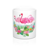 Pink Flamingo Coffee Mug, Tropical Flowers and Flamingo Coffee Mug, Coffee Mug with Pink Flamingos