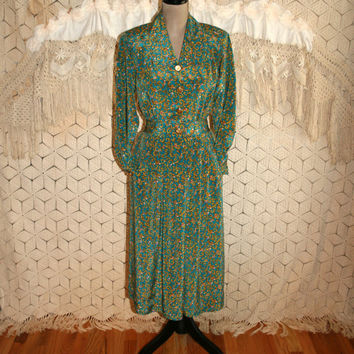 Long Sleeve Dress Gold Green Paisley Dress 80s Secretary Dress 1980s Dress 80s Clothing Leslie Fay Petite Size 6 Dress Small Womens Clothing