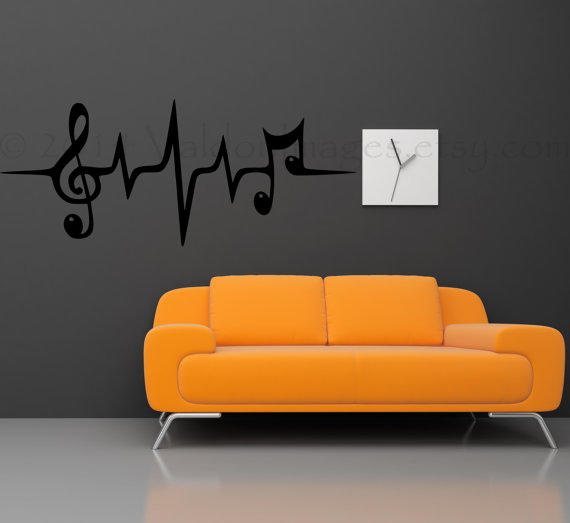Music Note Heartbeat Pulse Wall Decal From Valdonimages