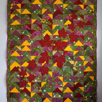 Patchwork Quilt, Autumn Colours Quilt, Twin Bed Quilt, Lap Quilt, Throw Quilt, Quilted Bedding, Wine Lovers Quilt, Green and Yellow Quilt