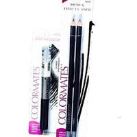 Colormates Dual Mascara 2X Max Performance-Clear & Black in one and 2 Brow & Eyeliner Pencils, color black/brown-Total 3 items