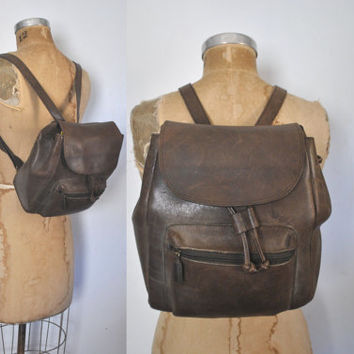 Brown Leather Backpack Bookbag / distressed / unisex
