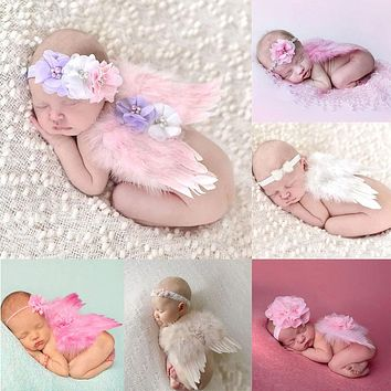 Newborn Photography Props Costume Cute Angel Wings+Headband Photo Props Infant Baby Girls Boys Outfits Accessories PLA983968