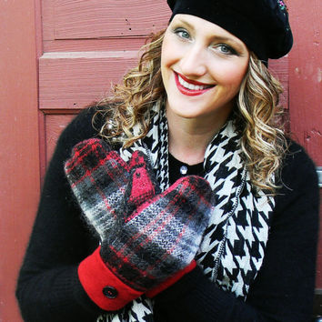 Red and Black Plaid Wool Mittens Recycled Women's Mittens Made in Wisconsin by Sweaty Mitts Reclaimed Fleece Lined Upcycled Handmade Upnorth
