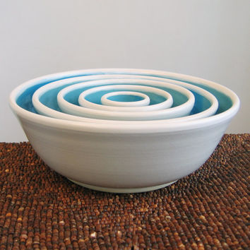 Ceramic Nesting Bowls in Sky Blue - Large Set of Stoneware Pottery Serving Bowls