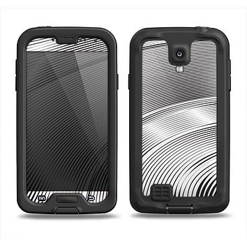 The Black and White Wavy Surface Samsung Galaxy S4 LifeProof Fre Case Skin Set