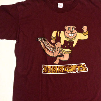 Vintage Minnesota Beavers Champion XL T Shirt Maroon Made in USA 50/50