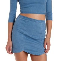 Lt Wash Denim Scalloped Denim Chambray Mini Skirt by Charlotte Russe