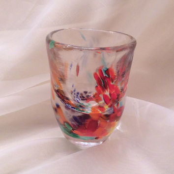 Rainbow Hand Blown Shot Glass.  Hand Blown Glassware in Rainbow Colors.  Custom Hand Made Barware.