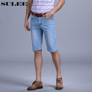 SULEE Brand 2017  Mens Lightweight Denim Jean Shorts Blue Shorts Plus Size Jeans for Men Summer Mens Short Pants Trouser