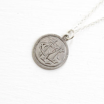 "Antique Silver Monogrammed ""WRA"" Love Token Coin Pendant Necklace - Victorian 1877 Seated Liberty Dime Coin Charm Vintage Initial Jewelry"