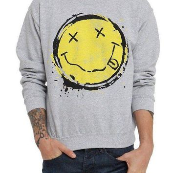 Nirvana Smiley Face Crewneck Fleece Pullover Sweater Sweatshirt 100% Authentic