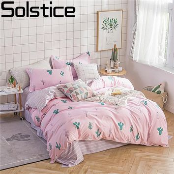 Solstice Home Textile Girl Pink Bedding Sets Cactus Duvet Cover Pillowcase Stripe Flat Sheets Kids Teen Linens Queen Single Size