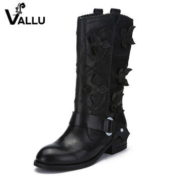 2016 VALLU Genuine Leather Women Boots Knee High Flat Heels Cut Out Flower Buckle Cow Leather Women High Boots