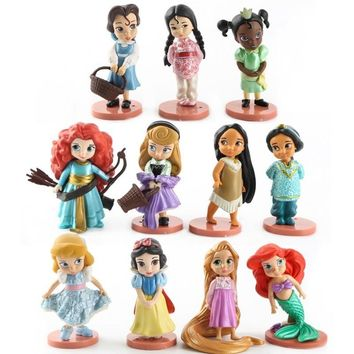 Disney 11pcs Moana Snow White Merida Princess Action Figures Mulan Mermaid Tiana Jasmine Dolls Anime Figurines Kids Toys gifts